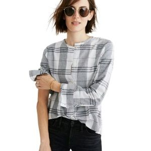Madewell Plaid Collarless Button Down Top Gray M